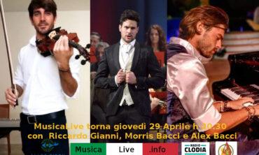 Nuovo concerto di MusicaLive.info con Morris Bacci, Alex Bacci e Riccardo Gianni